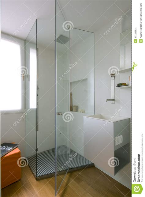 shower cubicle  glass partition stock photography