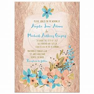 Rose Gold and Blue Watercolor Floral Wedding Invitation