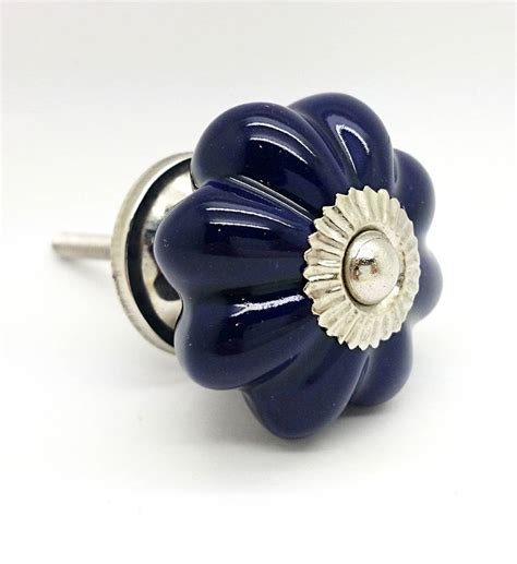 dark blue ceramic cupboard door knob drawer handle pull