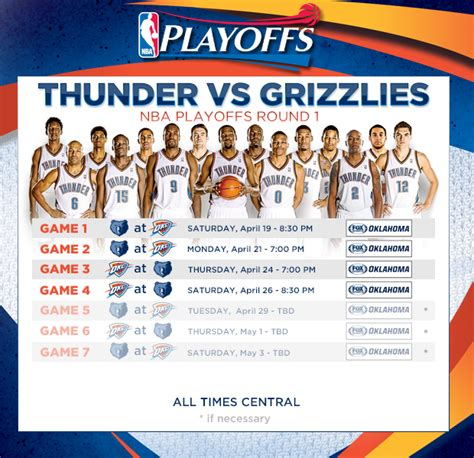 thunder    playoff schedule announced