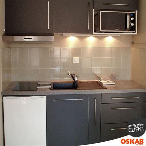 cuisine studio cuisine grise porte effet touch ginko gris mat