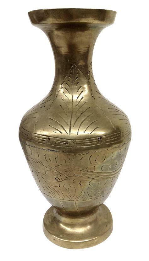 Hand Carved Antique Brass Vase   Chairish