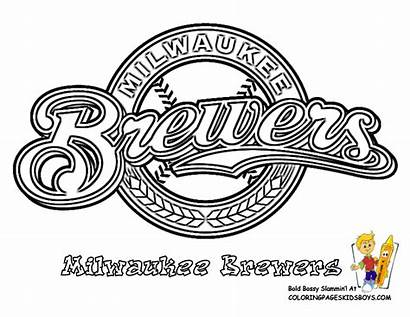 Coloring Baseball Pages Brewers Milwaukee Cincinnati Reds