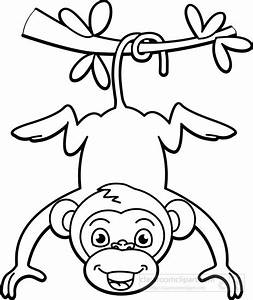 Monkey Black And White Clipart - Clipart Suggest
