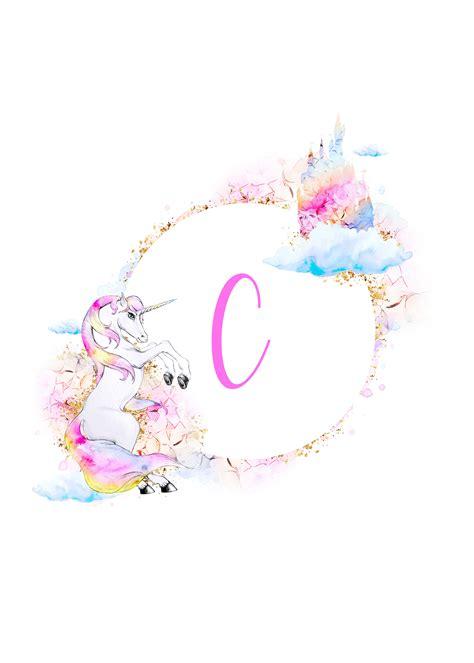 printable magical unicorn monogram collection