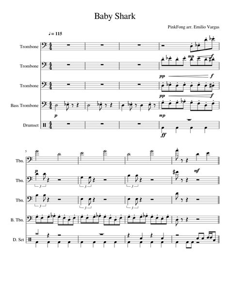 Free educational materials and trombone sheet music for many songs, arranged to play along with other wind, brass, and string instruments. Baby Shark Trombone Quartet sheet music for Trombone, Percussion download free in PDF or MIDI