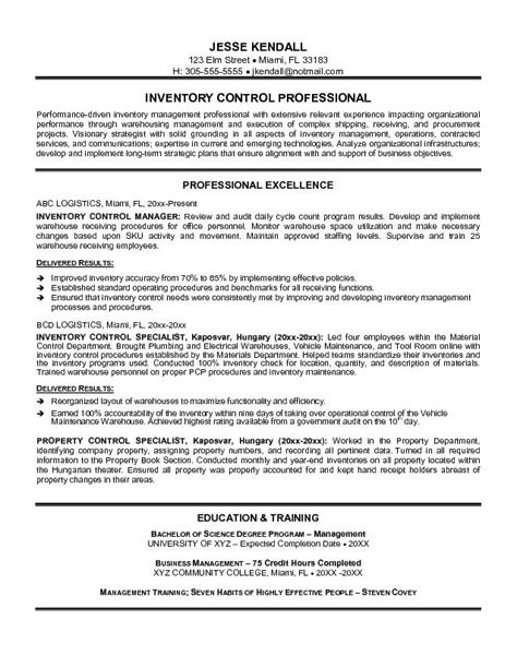 Inventory Resume Objective by Exle Inventory Specialist Resume Free Sle