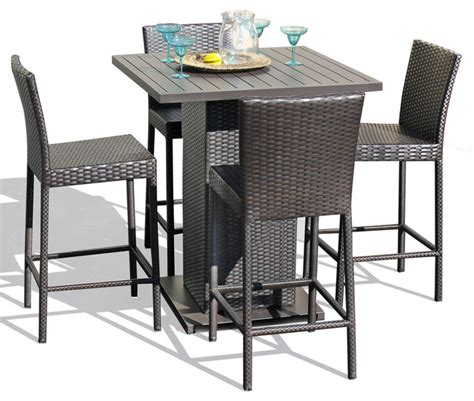 venus 5 wicker outdoor pub table set with bar stools