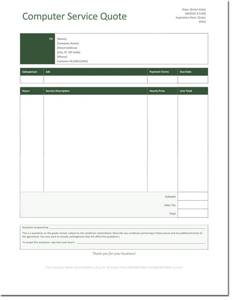 service quote template quotation templates free quotes for word excel and pdf