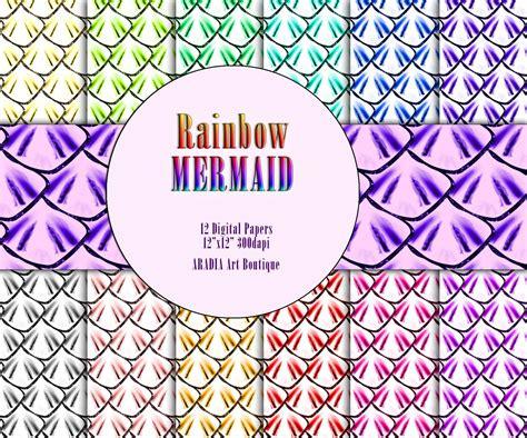Rainbow Mermaid Patterns Glitter Scales Digital Paper