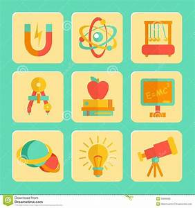 Physics Flat Design Icons Set Stock Vector - Illustration ...