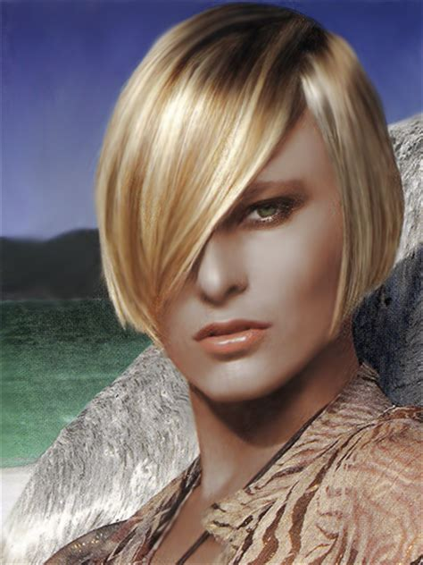 slick blonde haircut   hair