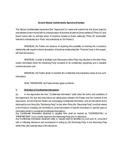 mutual confidentiality agreement templates