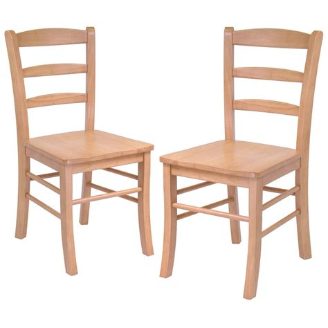 winsome set of 2 light oak ladder back chairs 151003
