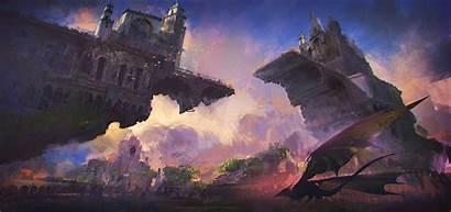 Castle Fantasy Yu Donglu Paint Artstation Concept