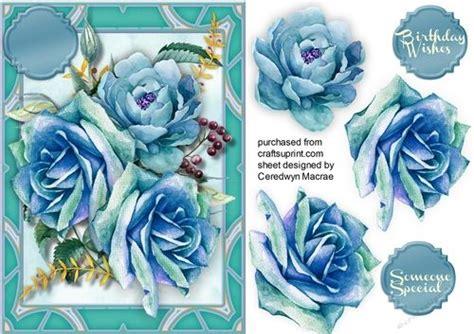 aqua blue roses   decko frame card making blue roses