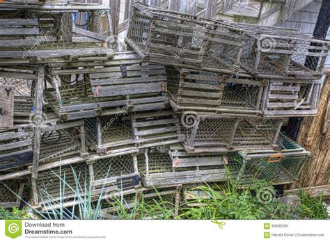 decorative lobster traps large stack of wooden lobster traps in maine stock photo image
