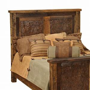 rustic headboards king size barnwood copper inset With barnwood headboard king