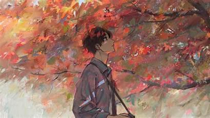 Anime Boy Autumn Tree Artwork Laptop Aesthetic