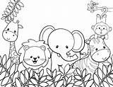 Coloring Animals Animal Jungle Pages sketch template