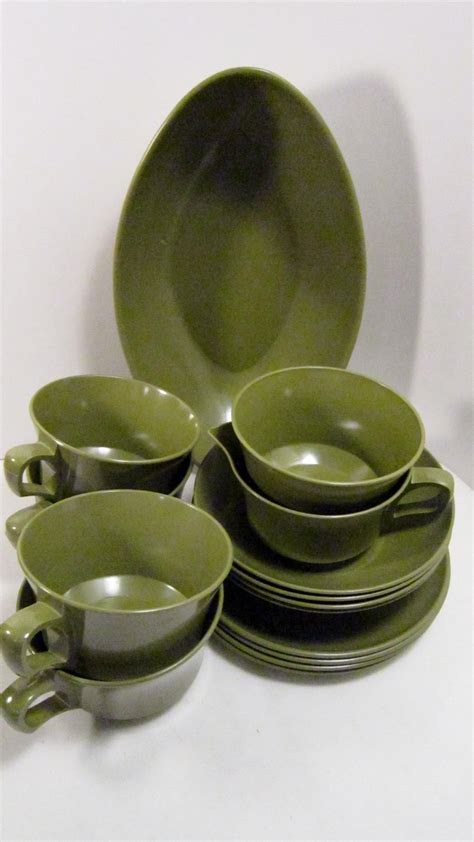 melamine cuisine 15 set allied chemical melamine dishes avocado green