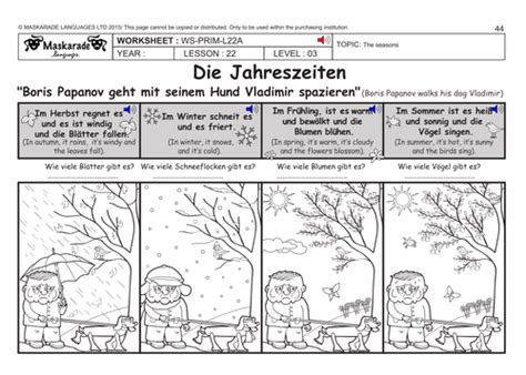 german ks2 level 3 ks3 year 7 the seasons months of
