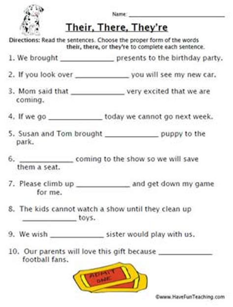 homophones worksheet their education world