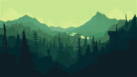 A view of the green valley Wallpaper from Firewatch