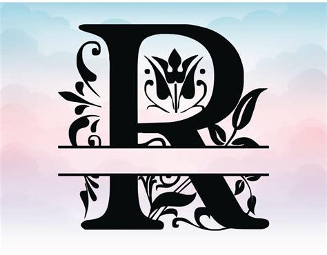 split monogram svg letter monogram regal split alphabet vector files  silhouette font