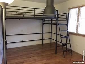 Lit Mezzanine Double : lit style industriel chambre adulte blanche style ~ Premium-room.com Idées de Décoration