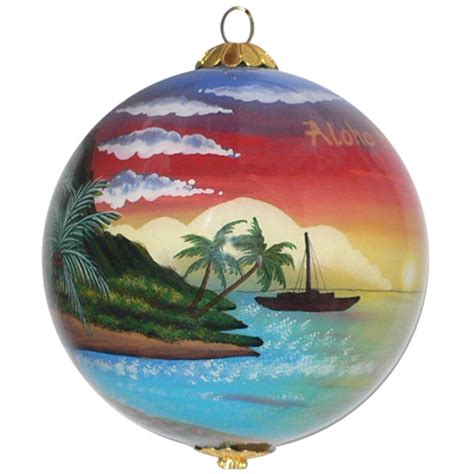 palm sunset hawaiian christmas ornament maui by design