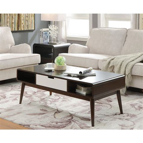 acme furniture christa white and walnut storage coffee