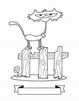 Coloring Fence Really Skinny Kitty Playing Kidsplaycolor sketch template