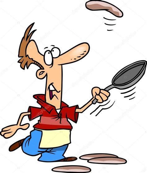 dessin animé cuisine homme de dessin animé cuisine crêpes image vectorielle