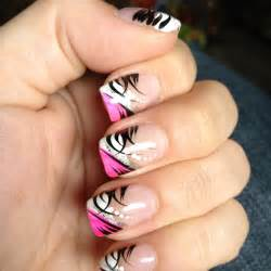 Pink black and white gel nail designs images
