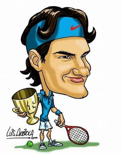 Federer Roger Clipart Caricaturas Cartoon Tennis Sports