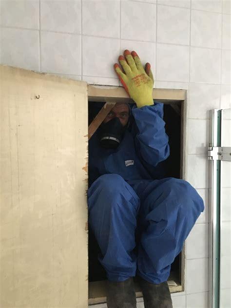 fun squeezing   gap  remove asbestos