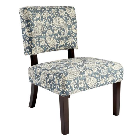 indigo paisley upholstered accent chair