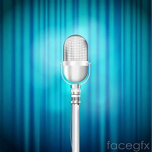Beautiful Blue Silver Microphone Stage Vector Diagrams For