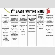 Second Grade Writing Menu For Writer's Workshop And 6 +1 Traits  Literacy Activities