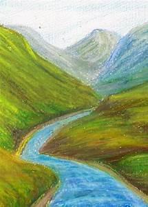 Atmospheric oil pastel perspective drawing landscape   art ...