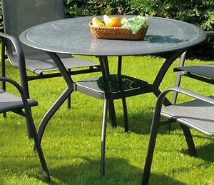 Table Verre Ronde : table de jardin marina en aluminium et verre 106x7 table de ~ Teatrodelosmanantiales.com Idées de Décoration