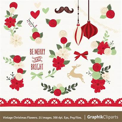 Christmas Flowers Clip Clipart Floral Illustrations