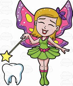 A Happy Fairy Casting Magic On A Tooth Cartoon Clipart ...