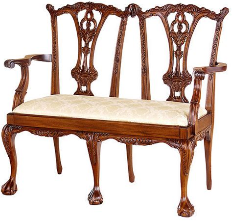 chippendale settee chippendale style 2 seater chairs mahogany