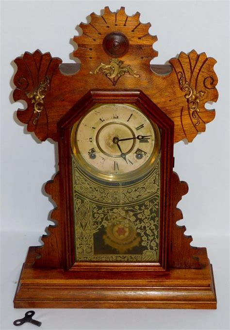 antique  ingraham  oak gingerbread kitchen mantle clock