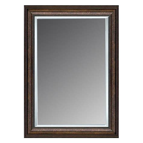 Silver Bathroom Mirror Lowes by Shop Allen Roth 36 In X 46 In Copper Beveled Rectangle