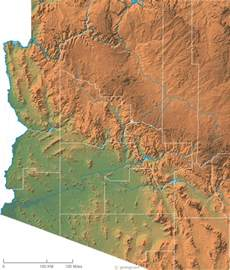 Arizona Physical Features Map