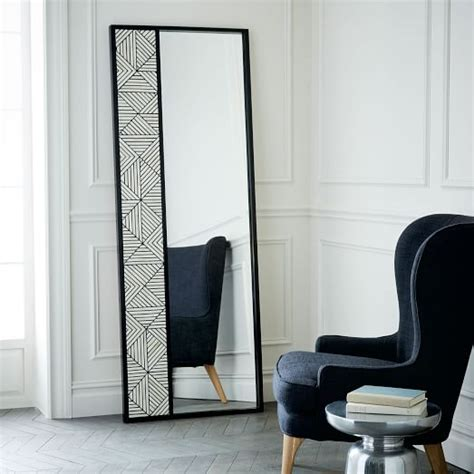 floor mirror bone inlay triangle bone inlaid floor mirror west elm