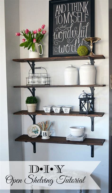 Pinterest Kitchen Storage Ideas - how to build open stained shelves 11 magnolia lane